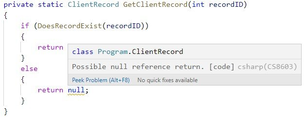 Screenshot of C# warning of possible null reference return.