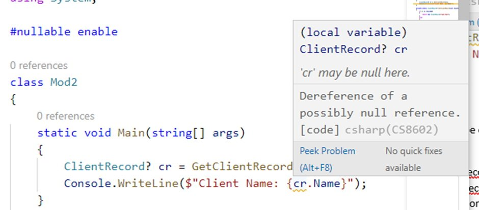 Screenshot of C# warning of dereferencing a possible null reference.