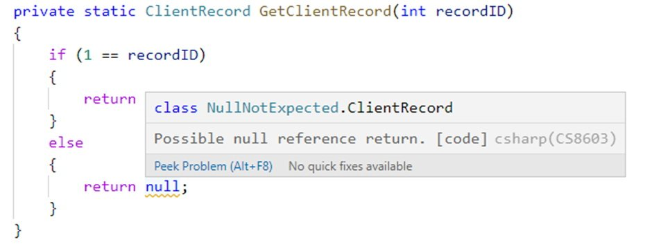 Screenshot of C# warning of null not expected