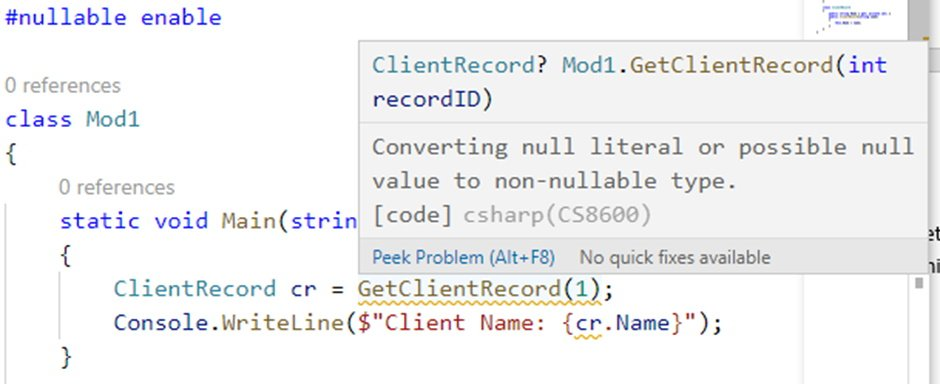 Screenshot of C# warning of possible null to non-nullable conversion.